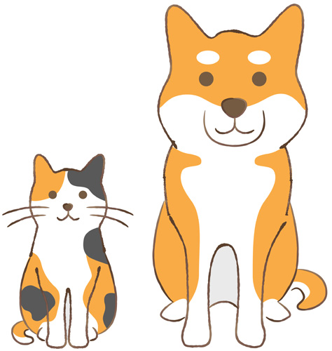 vector illustration of shiba inu and cat