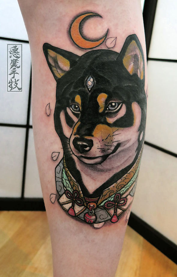 black and tan shiba inu tattoo