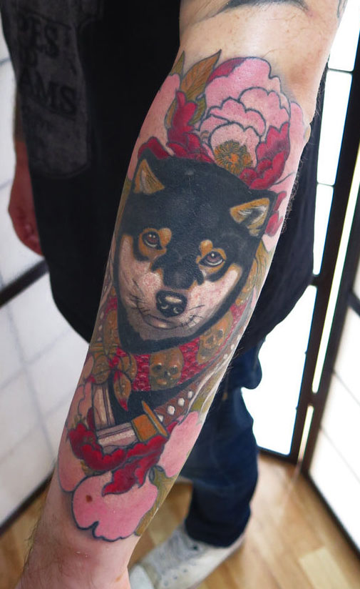 black and tan shiba tattoo