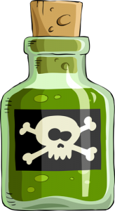 cartoon image of poison bottle