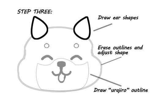 step by step how to draw a cute dog shiba inu style