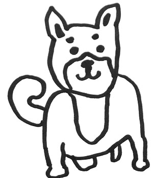 ugly dog drawing outline of shiba inu