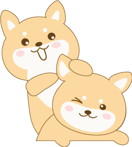 shiba inu cartoon cleaning ears