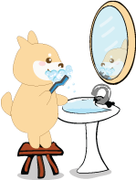 shiba inu cartoon brushing teeth