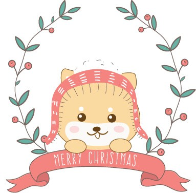 christmas shiba inu cartoon wreath