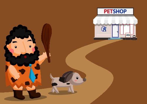 cave man dog food pet shop