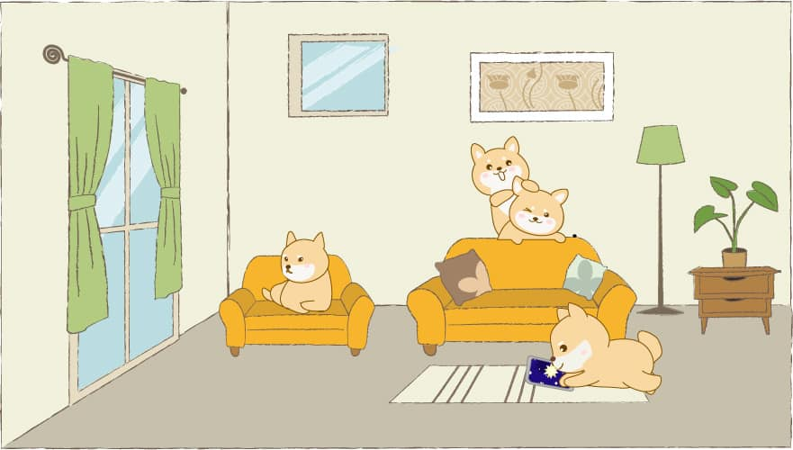 shiba inu comic cartoon living room