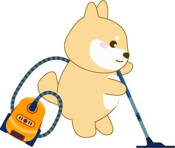 shiba inu cartoon vacuuming