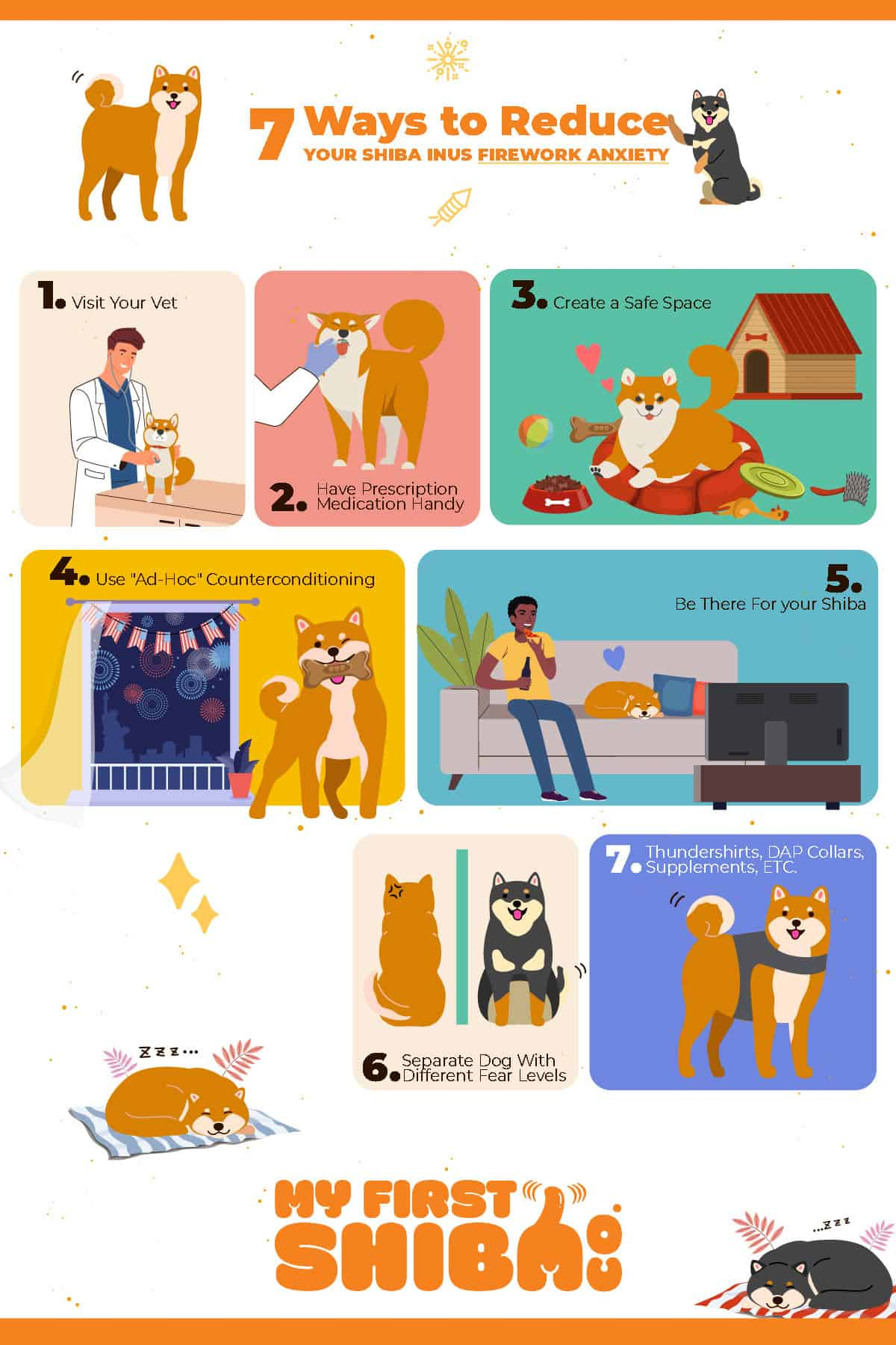 Shiba Inu scared of fireworks infographic