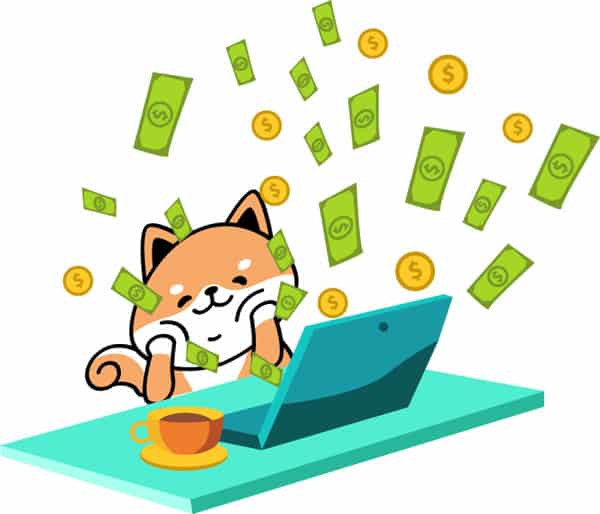 shiba cartoon in front of computer and money flying out