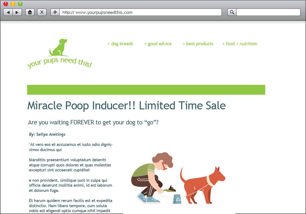 fake dog blog miracle product to avoid example