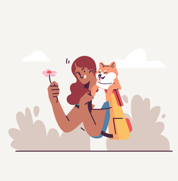 shiba inu in backpack illustration