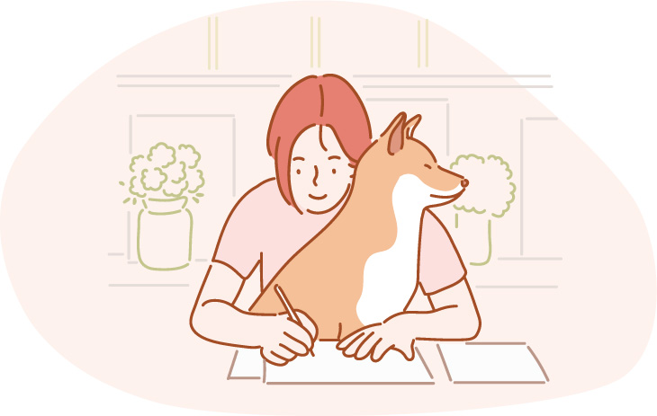 shiba inu quality time illustration