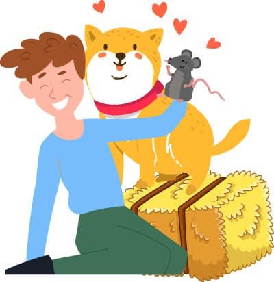 barn hunt shiba inu illustration